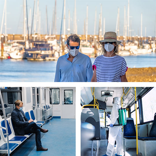 Above: a couple walking in a marina in Punta Umbría, Huelva ©Agsaz. Below: safety measures on public transport