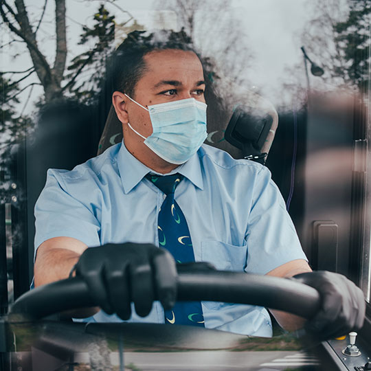 Driver with mask and gloves