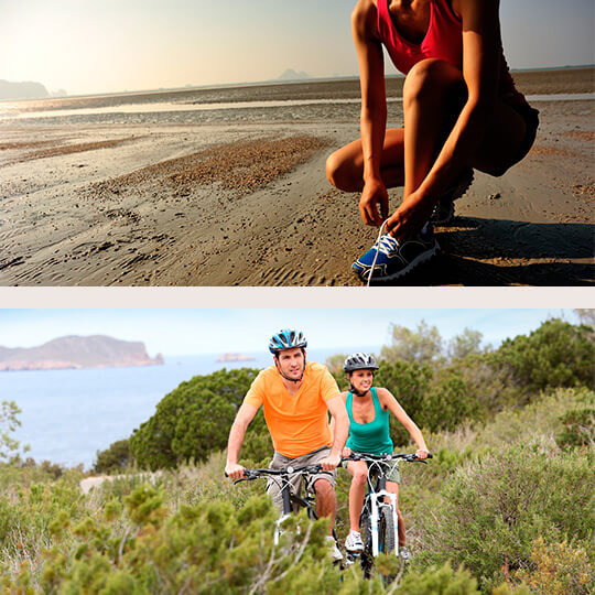 Above: Marathon on the beach. Below: Couple cycling in Ibiza