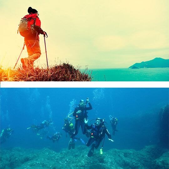 Above: Hiking on the Costera route, Ibiza. Below: Diving in Ibiza © Ibiza Travel
