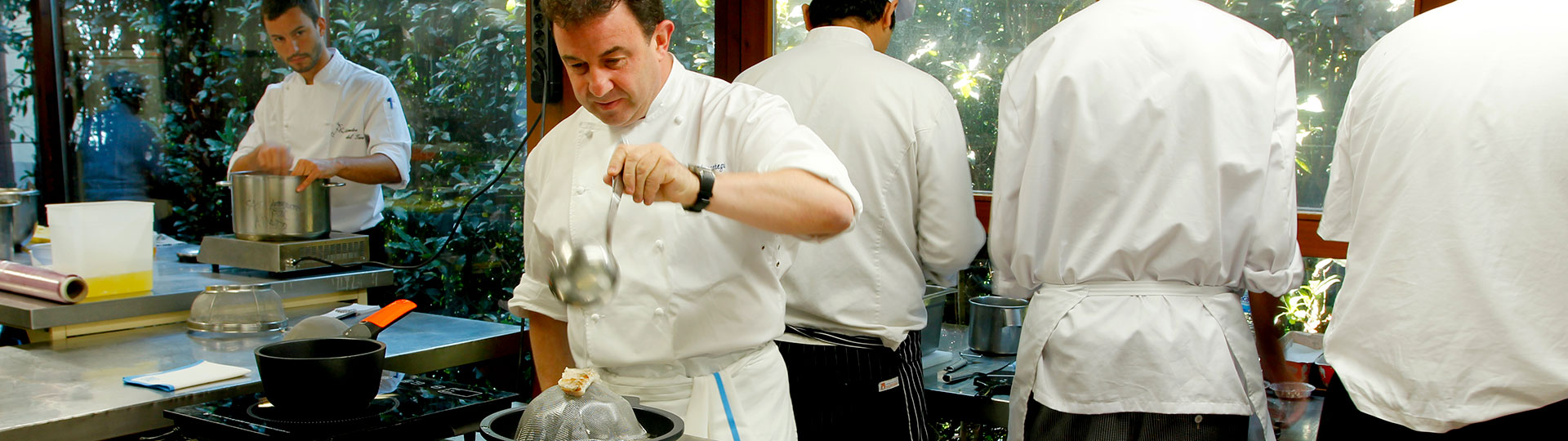 The Spanish chef Martín Berasategui cooking