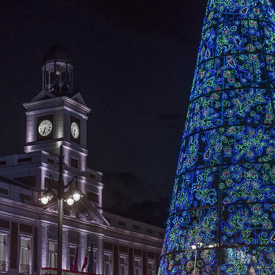 Detail of the Puerta del Sol in Madrid and the Christmas tree