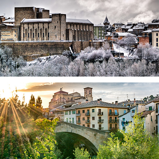 Above: Palacio de la Capitanía in Pamplona, winter © Ayuntamiento de Pamplona. Below: Estella-Lizarra