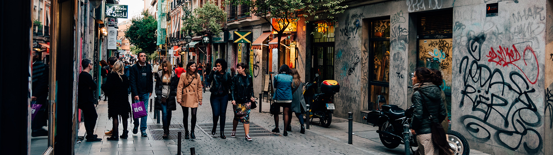 Streets in the Malasaña district of Madrid