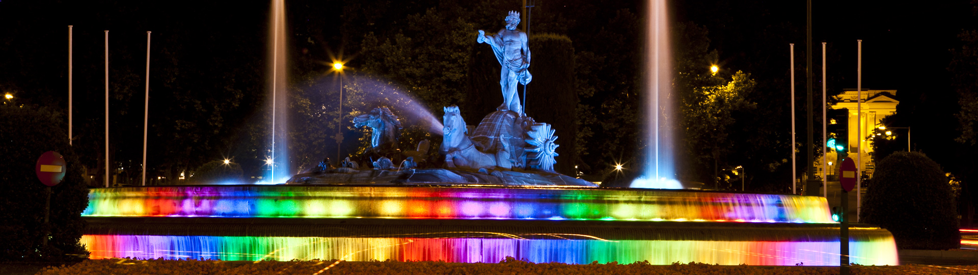 The Neptune Fountain in Madrid suitably attired for World Gay Pride Day