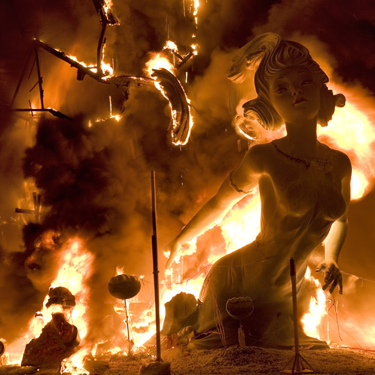 Bonfire in Las Fallas, Valencia