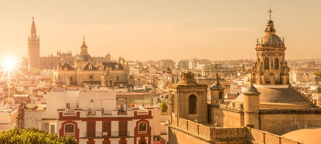 View over Seville at sunset