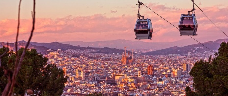 View from the cable car to Montjuïc in Barcelona
