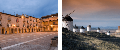 Left: Plaza en Sigüenza (Guadalajara). Right: Windmills in Consuegra (Toledo)