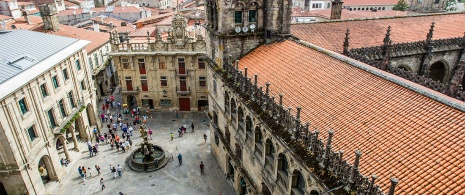 Plaza del Obradoiro from the tower of the Cathedral of Santiago