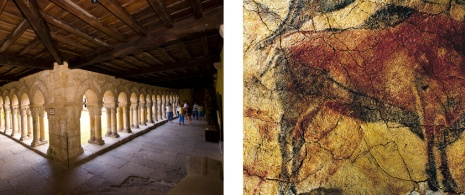 Cloister of the Collegiate Church of Santillana and bison in the Altamira Cave