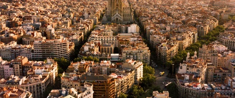 Carrer del Bruc, Barcelona. Aerial view of the Diagonal