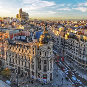Views of Gran Vía in Madrid