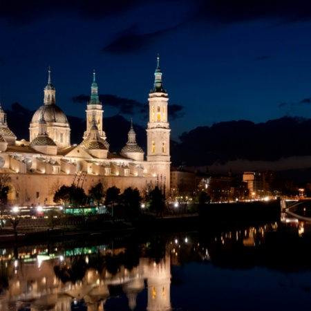 River Ebro passing by the Pilar Basilica in Zaragoza