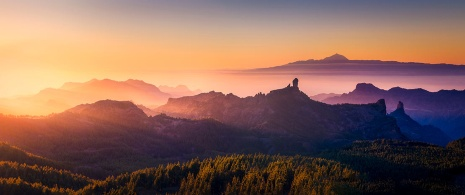 View from Pico de las Nieves from the Roque Nublo viewpoint in Gran Canaria