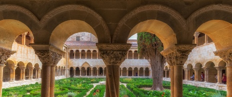Partial view of the cloisters of the monastery of Santo Domingo de Silos. Burgos
