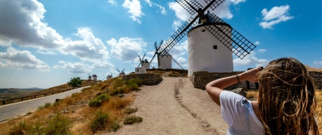 Girl at the windmills in Consuegra (Toledo, Castile-La Mancha)