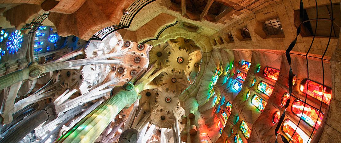 Intérieur de la Sagrada Familia, à Barcelone.