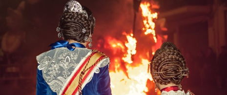 Detail of Las Fallas bonfire festival in Valencia