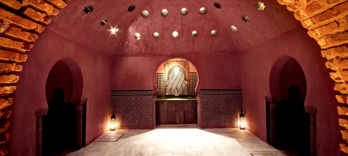 Hot stone room in the Arab baths in Granada