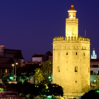 View of the Torre del Oro in Seville at night