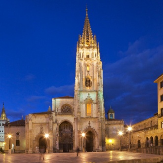 View of Oviedo Cathedral at night