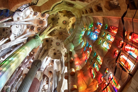 View of the ceiling and stained glass inside the Sagrada Familia, Barcelona