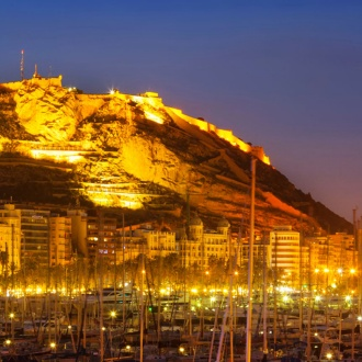 Alicante port with the Santa Bárbara Castle in the background