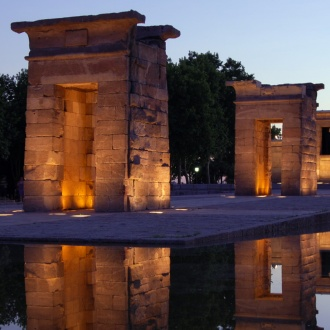 View of the Temple of Debod at sunset, Madrid