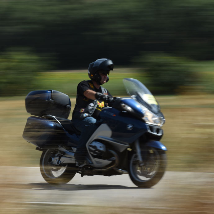 Motorcyclist on the route